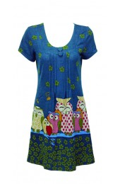 Big Happy Owl Family Tunic Blue