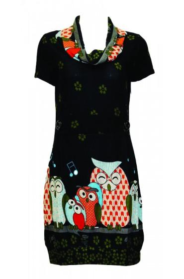 Happy Big Owls Tunic Black