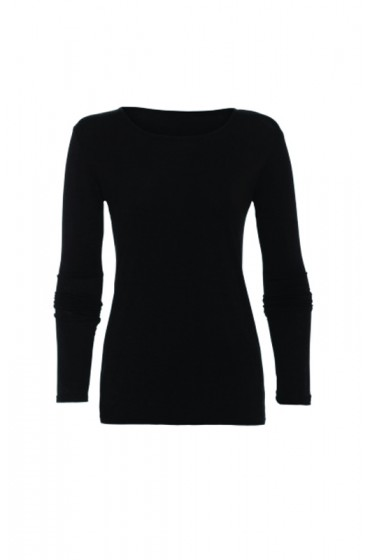 Long Sleeve Basic Top Black