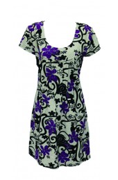 Swirly Flowers Tunic Purple