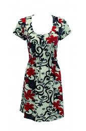 Swirly Flowers Tunic Red