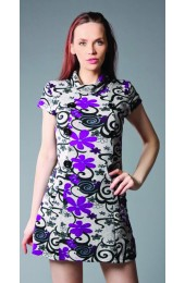 Swirly Flowers With Buttons Purple